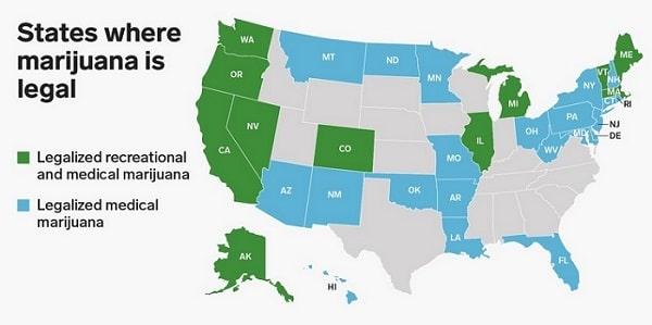 Carte des Etats américains ayant légalisés la marijuana